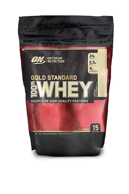 Optimum Nutrition Gold Standard 100% Whey Proteína en Polvo, Vainilla - 450 g