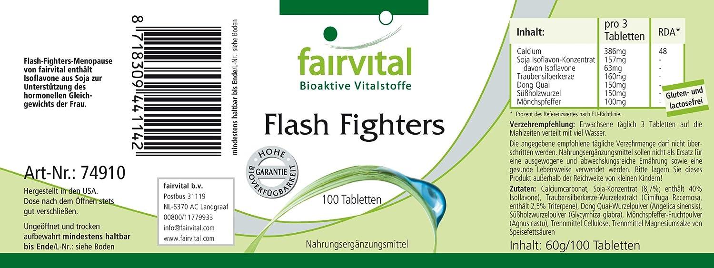 Los combatientes Flash - 1 mes - VEGANO - 100 comprimidos - con isoflavonas, dong quai, el árbol casto, etc.: Amazon.es: Salud y cuidado personal