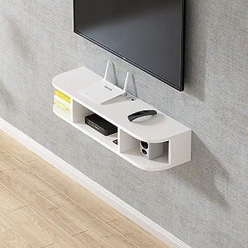 Estantes flotantes dormitorio sala de estar Estante de la pared Estante de TV montado en la pared Set top box Reproductor de DVD enrutador Armario de almacenamiento multifuncional Tablero de TV: Amazon.es: