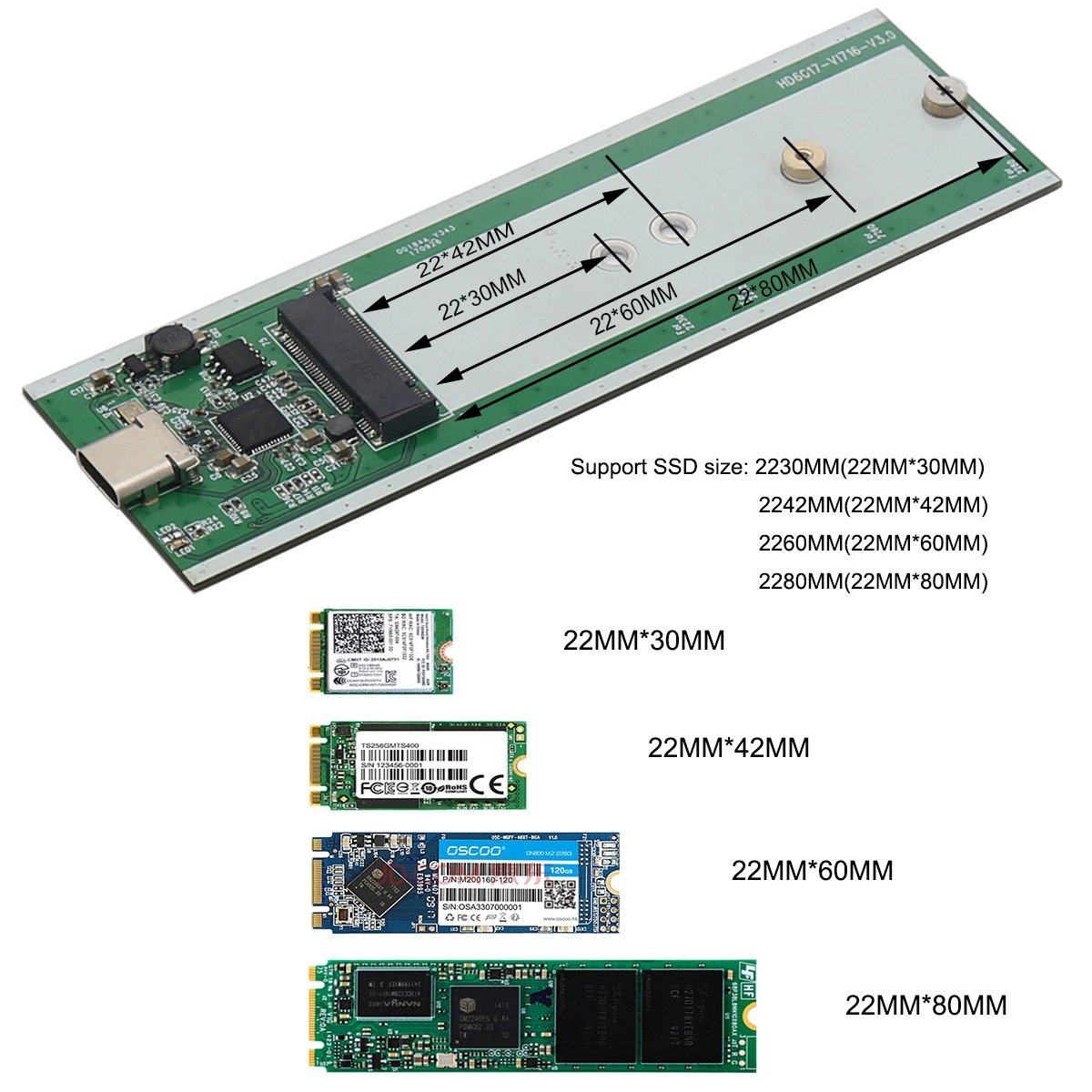 Aluminum M.2 NGFF to USB 3.1 M.2 SSD Enclosure External SSD Enclosure SATA Based M.2(Grey) by Generic (Image #6)