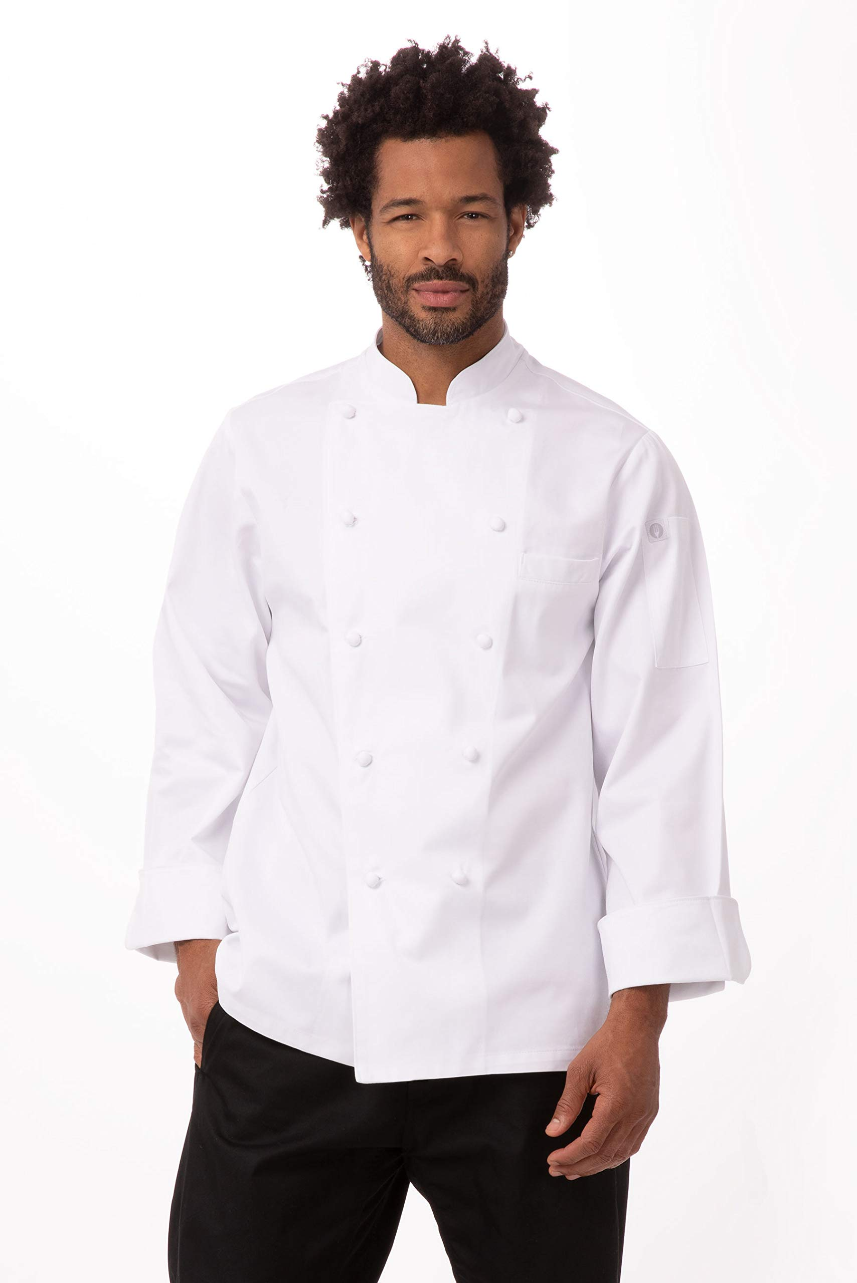 Chef Works Men's Henri Executive Chef Coat, White, 38 by Chef Works