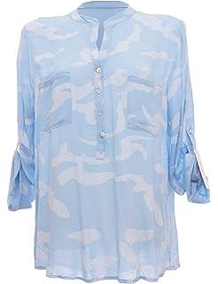 Moda Italy Damen Tarn Bluse Schlupfbluse Bluse Fischerhemd Camouflage  Muster Punkten V-Ausschnitt und Langen 013d8641ef
