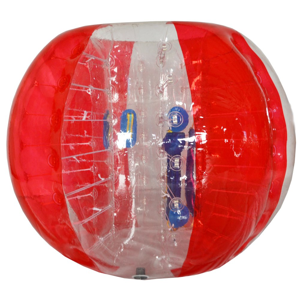 Sayok Inflatable Bumper Ball Bubble Soccer Ball Knocker Body Zorb Ball Bubble Football for Adults or Child(5ft diameter, Red with Transparent)