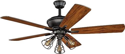 Clybourn Farmhouse Industrial 52 inch Bronze Ceiling Fan
