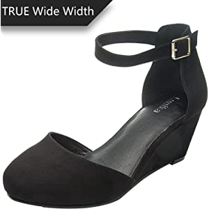 383aafdf69af Women s Wide Width Heeled Sandals - Classic Low Block Heel Open Toe Ankle  Strap Suede Summer