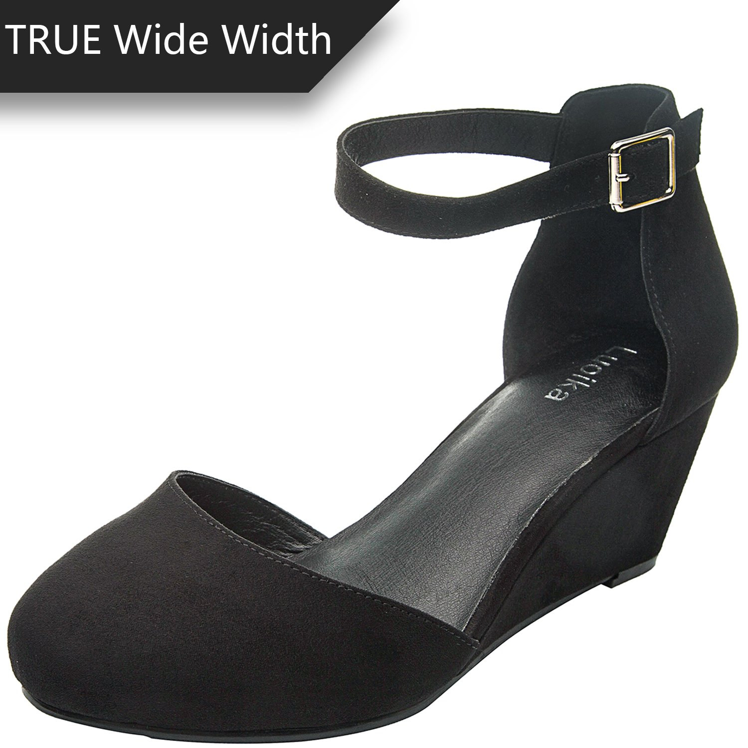 Luoika Women's Wide Width Mini Wedges - Comfortable Mid Low Heel Ankle Buckle Strap, Plus Size Round Closed Toe.(180323,Black,size8)