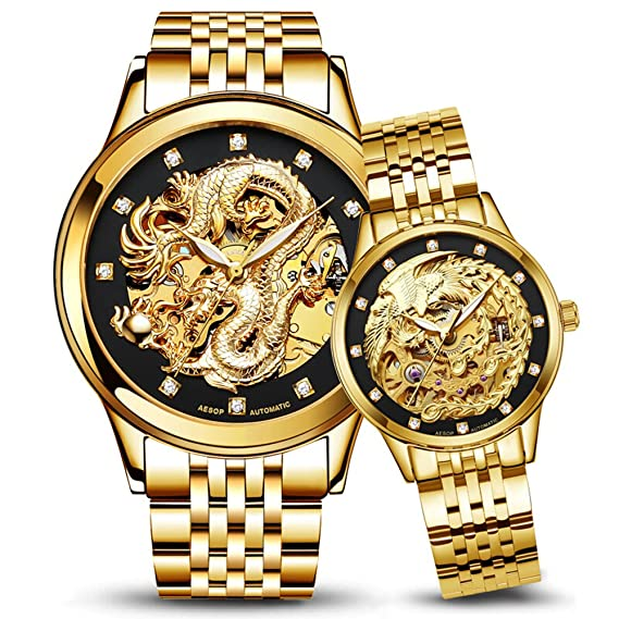 Amazon.com: Dragon and Phoenix Luxury Couple Watches Men and Women Gold Automatic Mechanical Watch Chic Dress for Her or His Set of 2 (Full Gold): Watches