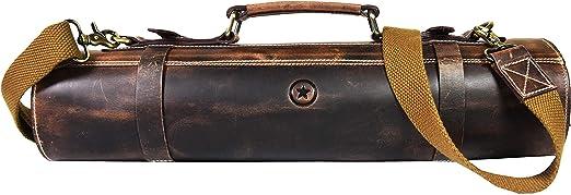 Bolsa de almacenamiento de cuero con rollo de cuchillo | Elásticos y expandibles 10 bolsillos |