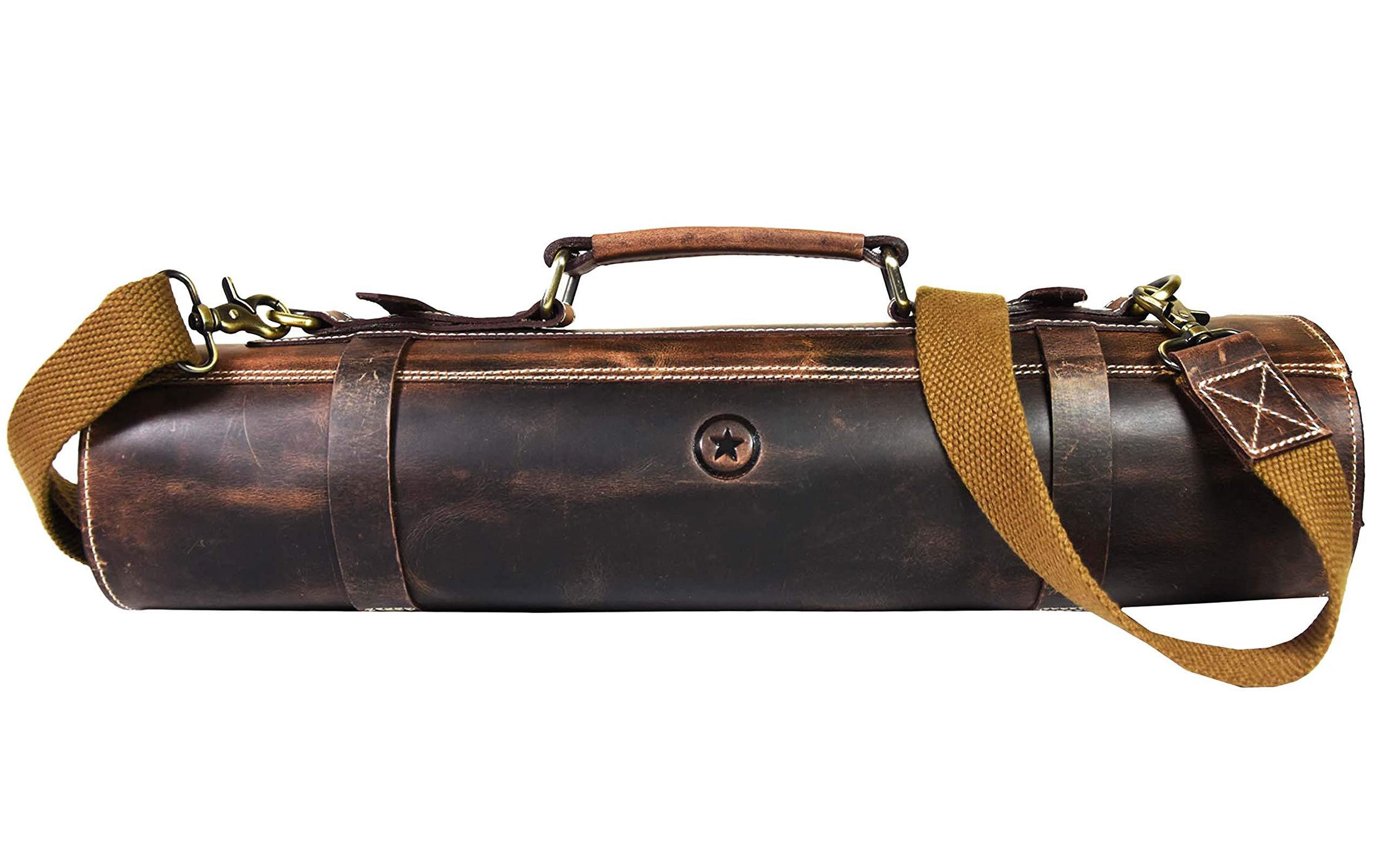 Leather Knife Roll Storage Bag   Elastic and Expandable 10 Pockets   Adjustable/Detachable Shoulder Strap   Travel-Friendly Chef Knife Case Roll By Aaron Leather (Walnut (Brown Lining), Leather) by AARON LEATHER GOODS VENDIMIA ESTILO
