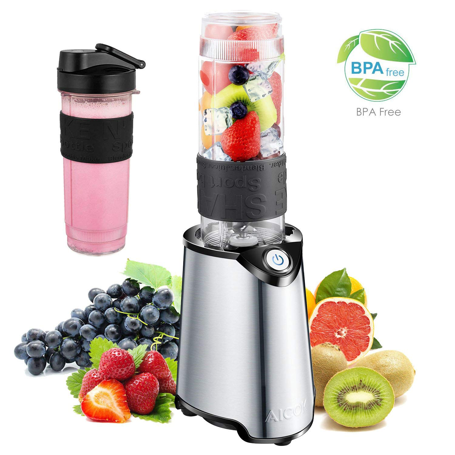 Blender, Aicok Personal Smoothie Blender, Stainless Steel Single Serve Blender, with 21 oz BPA Free Portable Travel Sports Bottle and Extra Travel Lid, 300W, Silver by AICOK