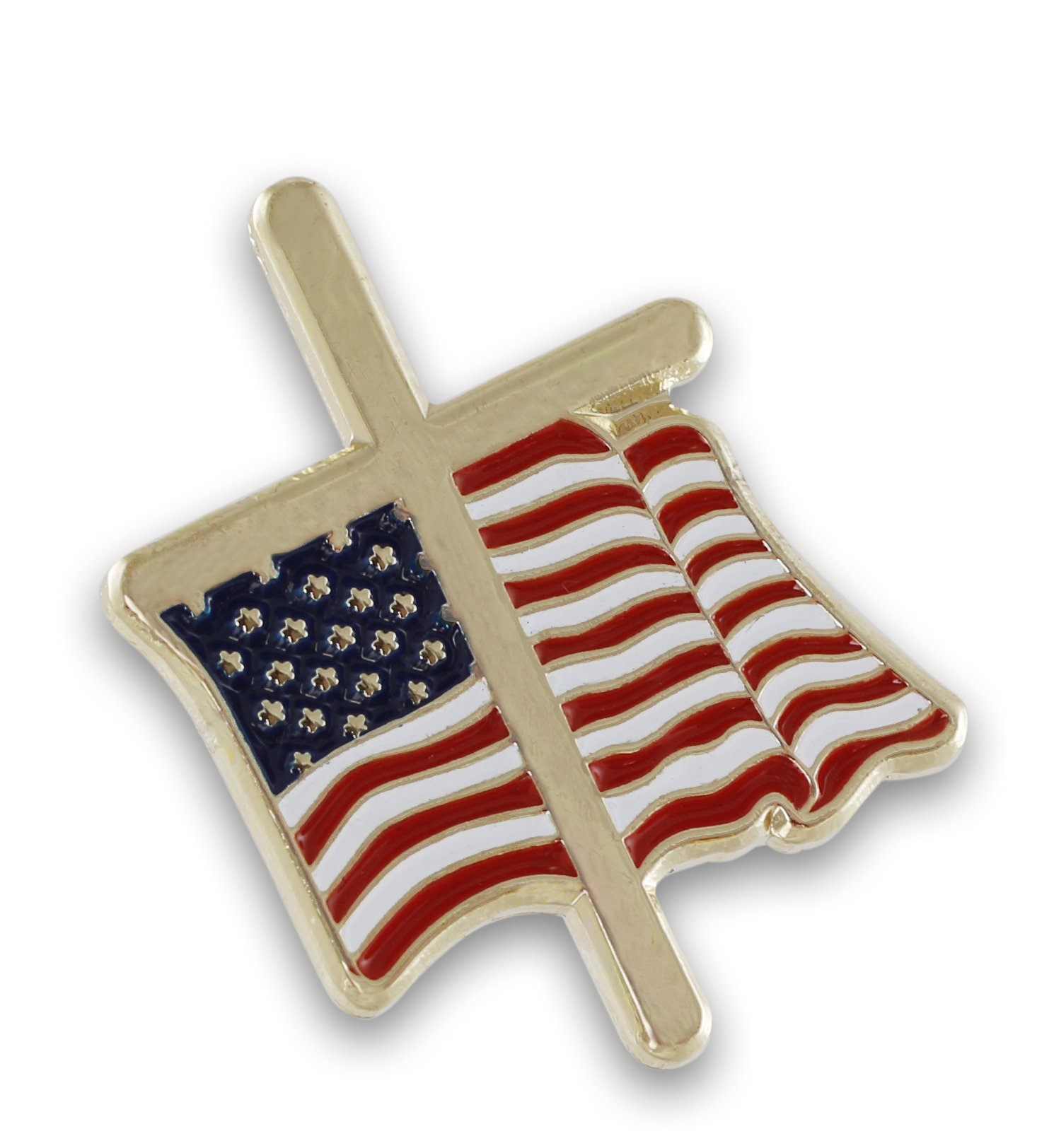 American Flag with Religious Cross Lapel Pin (50 Pins) by Forge (Image #6)