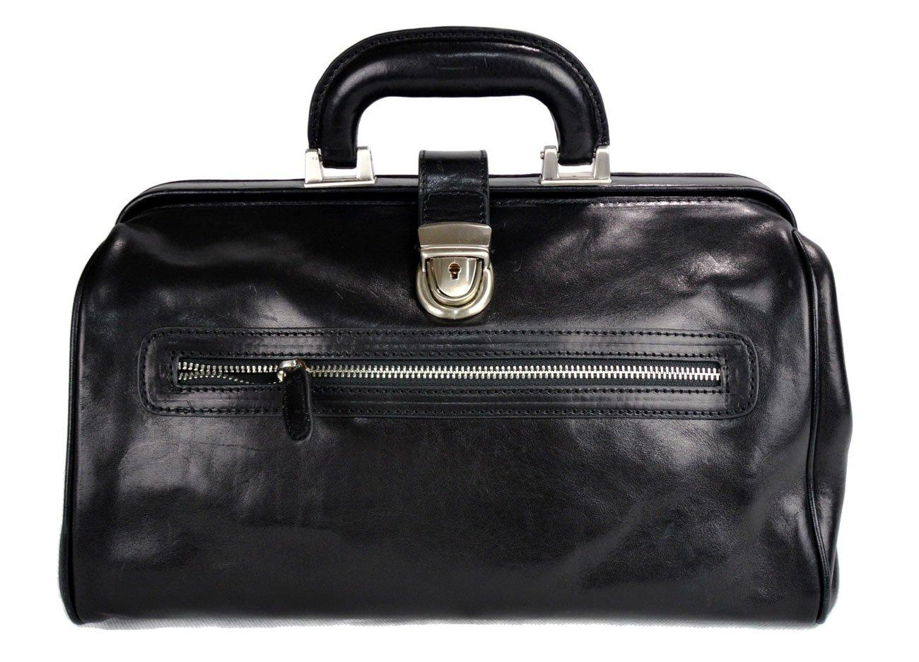Leather doctor bag medical bag handbag ladies men leatherbag vintage medical bag retro doctor bag made in Italy luxury bag weekender black