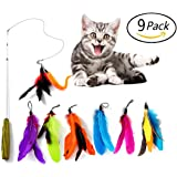 Retractable Cat Wand Toy,MOMODA 8 Piece Assorted Feather and Worms Teaser,Exerciser Interactive Cat Wand For Your Cat or Kitten