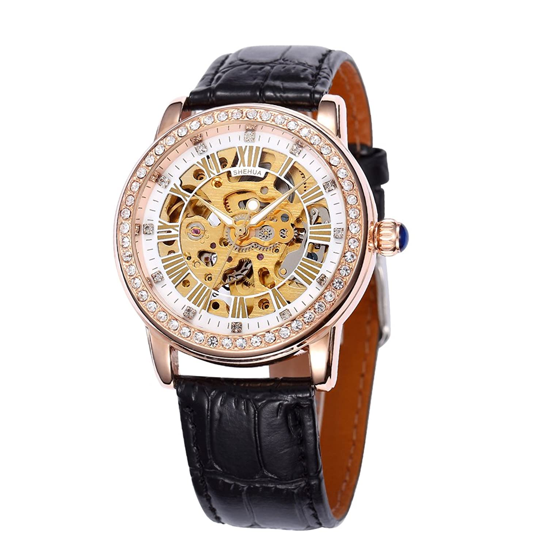 SHENHUAジュエリーメッキクラシックラウンド自動Golden Skeleton Mechanical Leather Strap Ladies Watch B06Y2FGF41