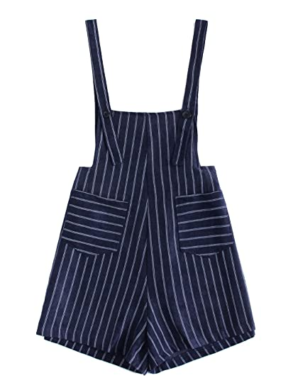 21ae60a7bee Amazon.com  Romwe Women s Striped Print Straps Sleeveless Dual Pocket Short  Romper Jumpsuit  Clothing