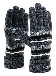 手袋 メンズ ニット グローブ ボーダー 高機能中綿素材