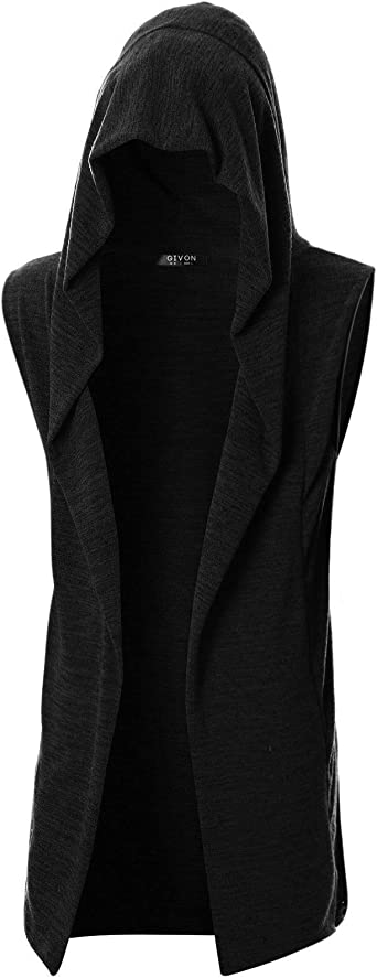 GIVON Mens Sleeveless Ruffle Shawl Collar Cardigan with Pockets