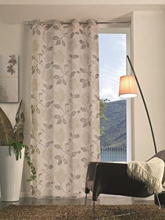 Tende Color Tortora.Home Collection Tfs135 Tenda Flora Poliestere Tortora 140x280 Cm