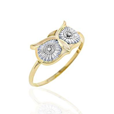 Amazoncom Gold Owl Ring 10K Jewelry