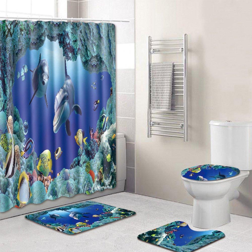 cyclamen9 Bathroom Rug Mat 4-Piece Soft Microfiber Bathroom Non-Slip Pedestal Rug + Lid Toilet Cover + Bath Mat+Shower curtain Machine washable (4PCS sea world)