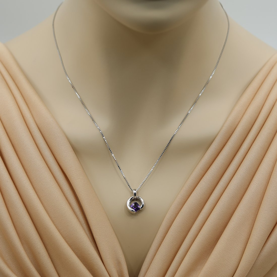 Cushion Cut Orbit Sterling Silver Pendant Necklace available in various colored stones