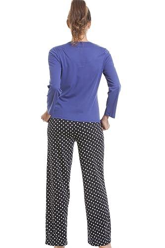 Camille Womens Ladies Nightwear Sleepwear Navy Blue Checkered Fox Pyjama Set