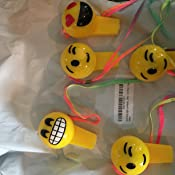 24 EMOJI Light up Whistle Necklaces ~ 3 Emoticon Necklace ~ Party Favors ~Teacher Prize ~ Secret Santa ~ Giveaway ~ Birthday Goody Bag Fillers ~ Fair Prize ~ Gag Toy RIN SG/_B01GK293RC/_US
