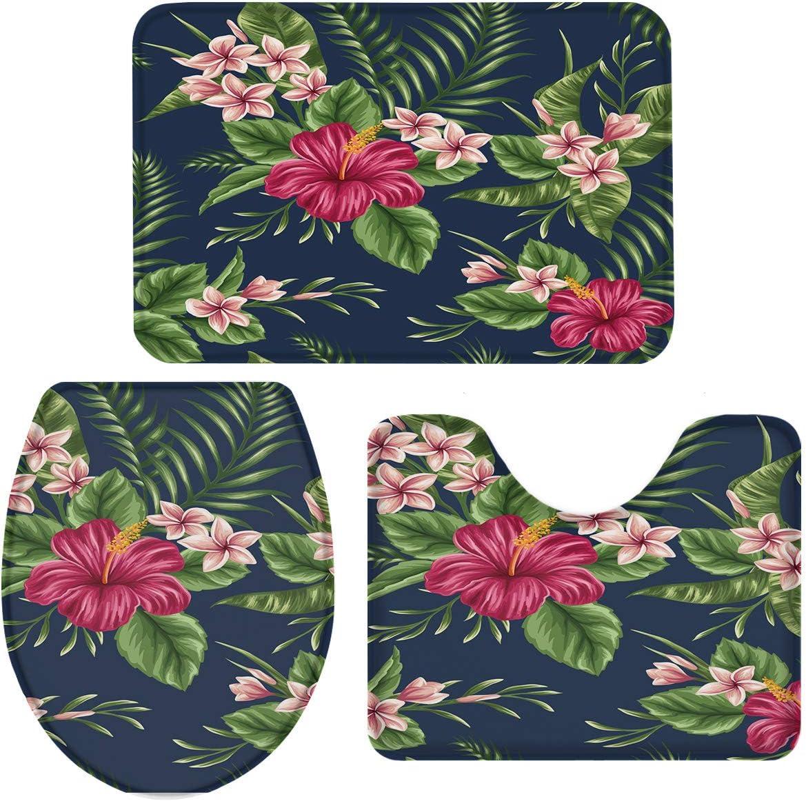 Tropical Hibiscus Flower Plant 3 Piece Plush Bathroom Rugs Set Non Slip Water Absorbent Tub Shower Mats Bath Rug U Shape Contoured Toilet Mat Lid Cover 18 X30 14 X18 15 X18 Vintage Home Kitchen