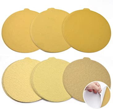 220 Grit 6 Inch Gold Peel and Stick Adhesive Backed PSA Sanding Discs with Tabs 100 Pack
