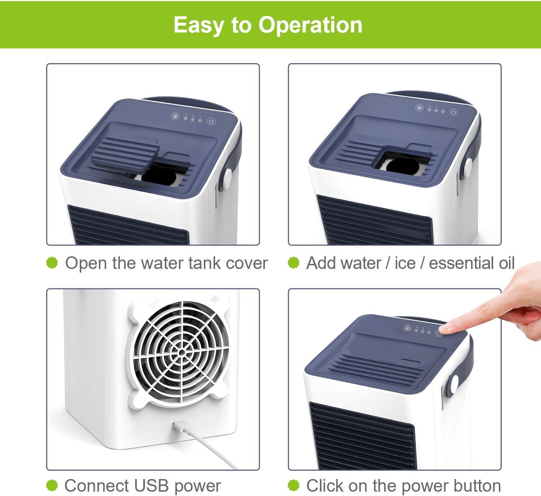 Lext/érieur Climatiseur le Bureau Mini Climatiseur Portable TedGem Climatiseur Mobile Ventilateur de bureau 3 en 1Mini Climatiseur USB Humidificateur 3 Vitesses avec Poign/ée Pour la Maison