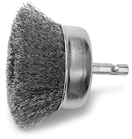 1//4-Inch Hex Shank Fine Hot Max 26071 2-1//2-Inch Crimped Wire Mounted Cup Brush