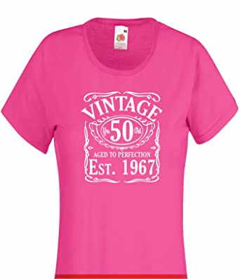 Vintage Since 1967 50th Birthday Gift Funny Ladies Womans Cotton T Shirt Amazoncouk Clothing
