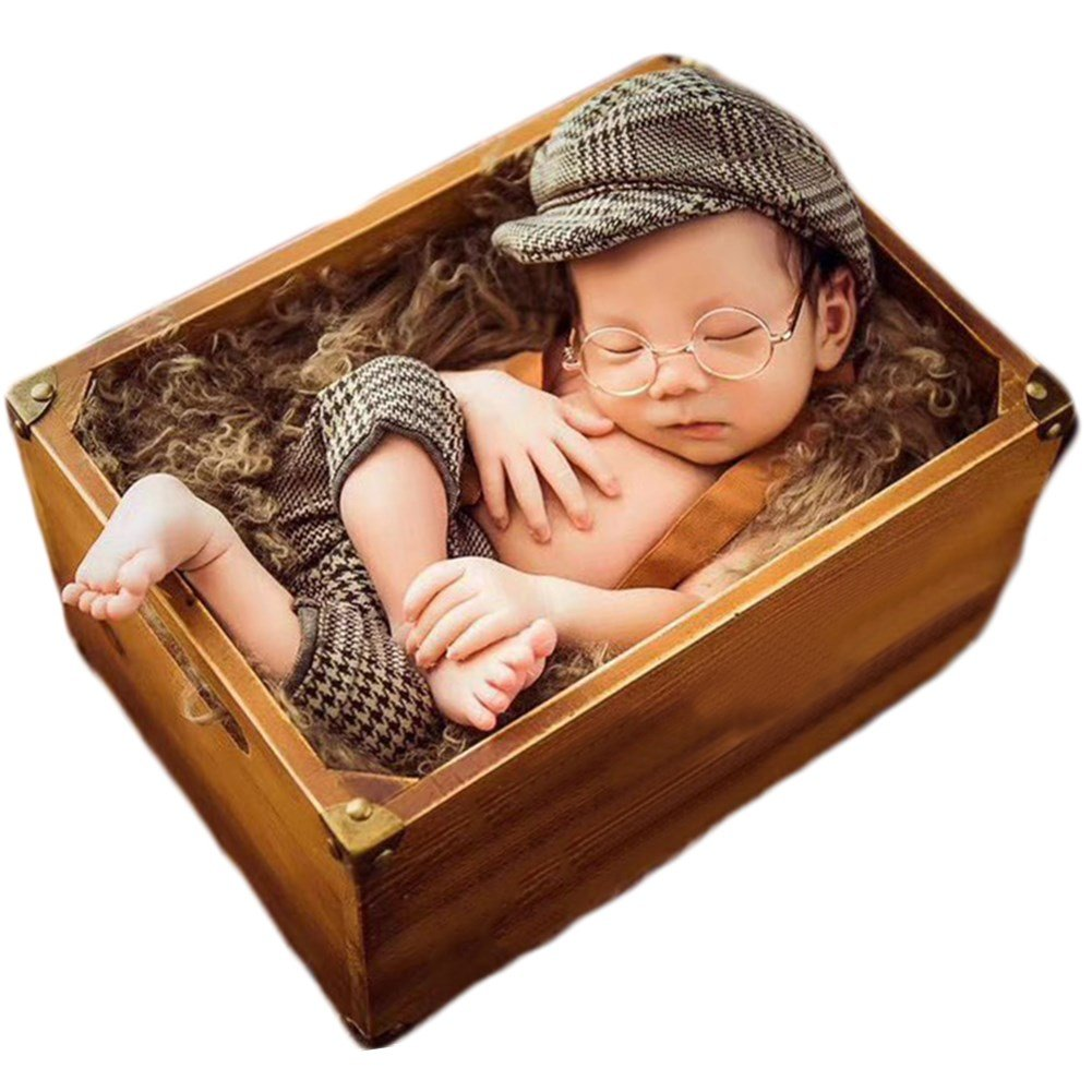 Baby Photography Props Newborn Boy Photo Shoot Outfits Infant Gentleman Suit Lattice Rompers Hats (Coffee) by Zeroest