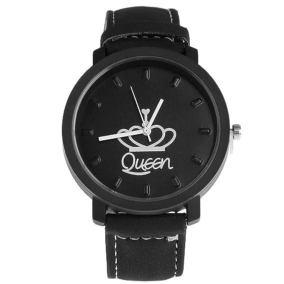 Moda Reloj Redondo para Parejas PU Correa de Cuero Reloj de Pulsera Cuarzo para Estudiantes Amantes Regalo: Amazon.es: Relojes