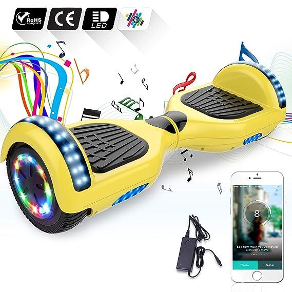 COLORWAY Hoverboard 6.5 Pulgadas con Ruedas de LED, Patinete Eléctrico con Bluetooth de 700W Auto-Equilibrio