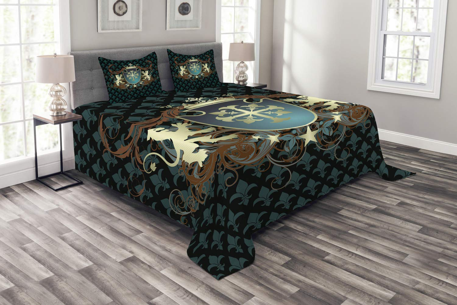Ambesonne Medieval Bedspread, Heraldic Design from Middle Ages Coat of Arms Crown Lions and Swirls, Decorative Quilted 3 Piece Coverlet Set with 2 Pillow Shams, King Size, Teal Cinnamon