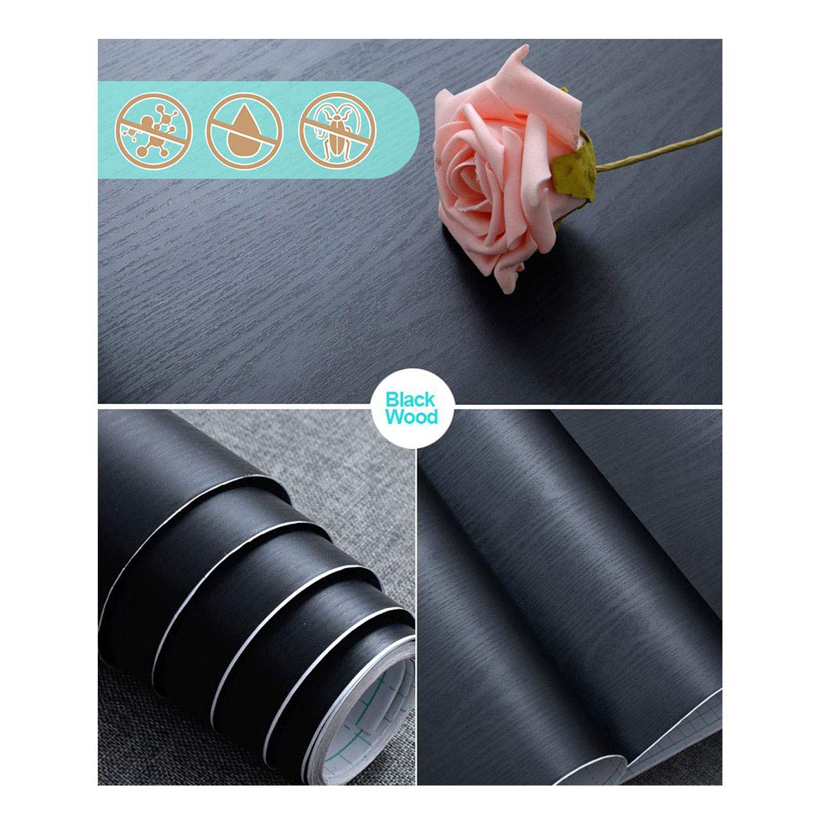 Abyssaly 17.71'' X 78.7'' Black Wood Contact Paper Decorative Self-Adhesive Film for Furniture Real Wood Tactile Sensation Surfaces Easy to Clean