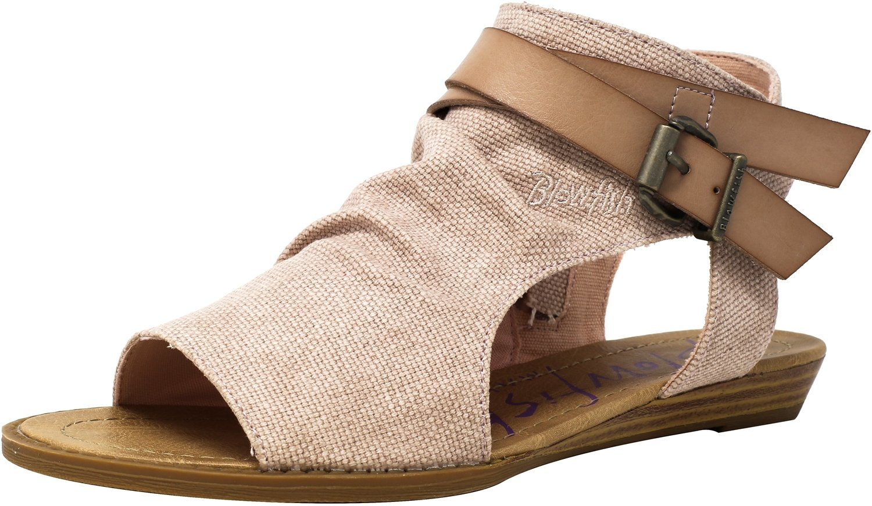Blowfish Women's Balla Wedge Sandal B074CKJK8X 10 B(M) US|Blush Rancher Canvas/Dyecut Pu