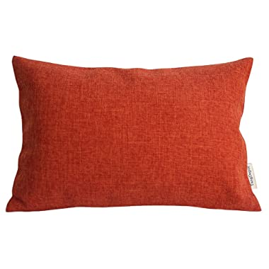 TangDepot Heavy Lined Linen Cushion Cover, Throw Pillow Cover, Rectangle pillow covers, Decorative Cushion Cover Pillowcase - (12 x20 , Deep Orange)