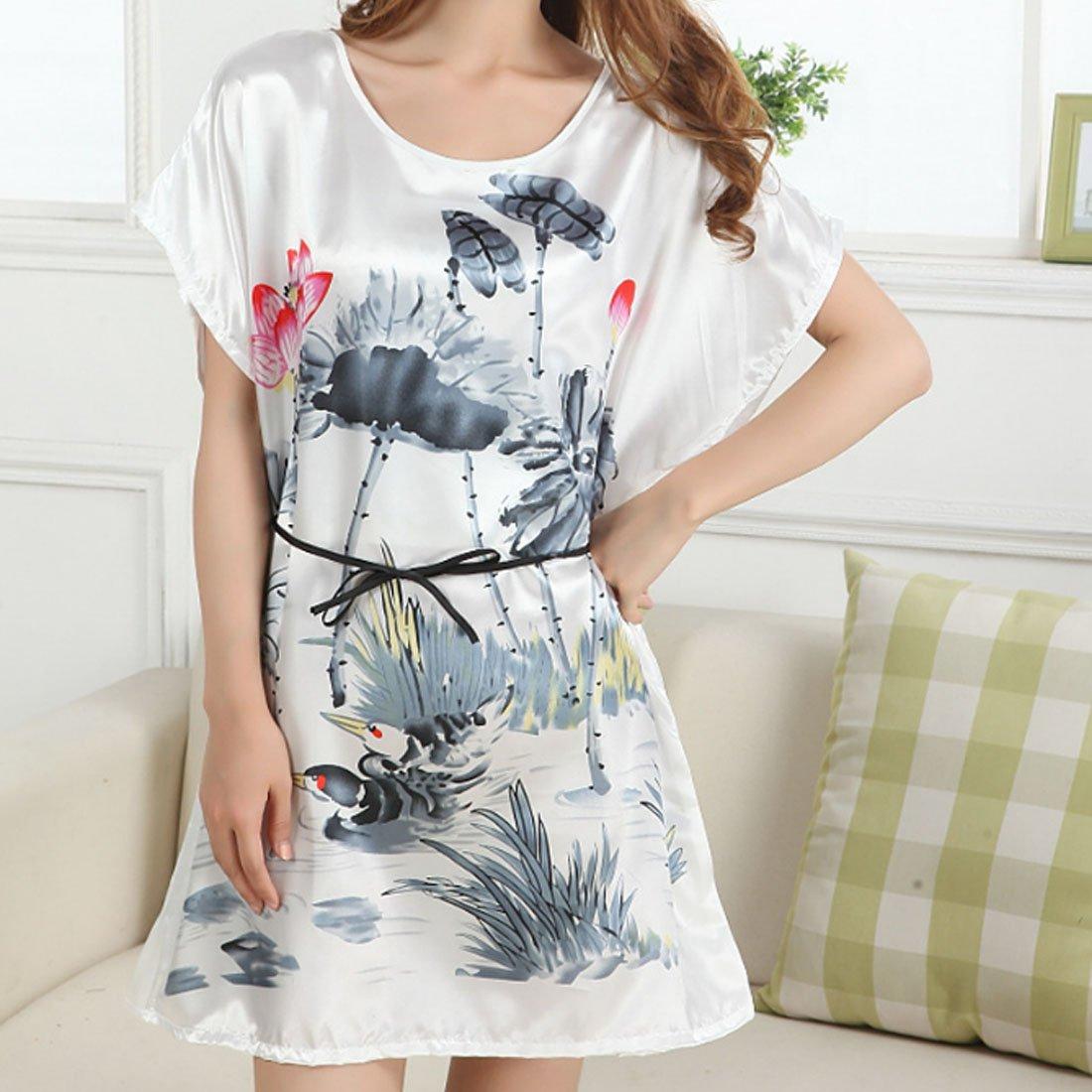 NEEVAS Womens Chinese Style Short Sleeve Silk Dress Loose Nightgown Pajamas Bathrobe