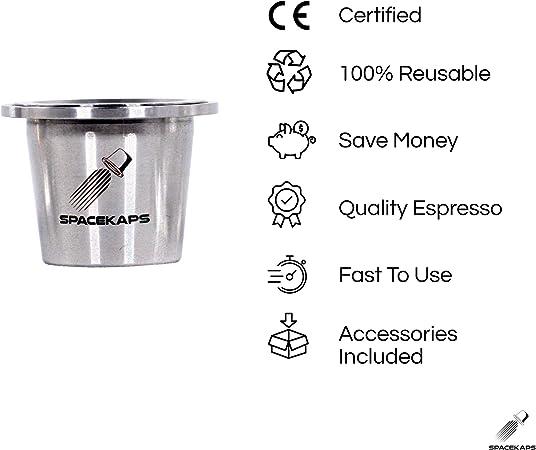 Edelstahl 304 Nespresso-kompatibel Spacekaps Wiederverwendbare Kapseln wiederaufladbar und leicht zu reinigen inklusive Zubeh/ör