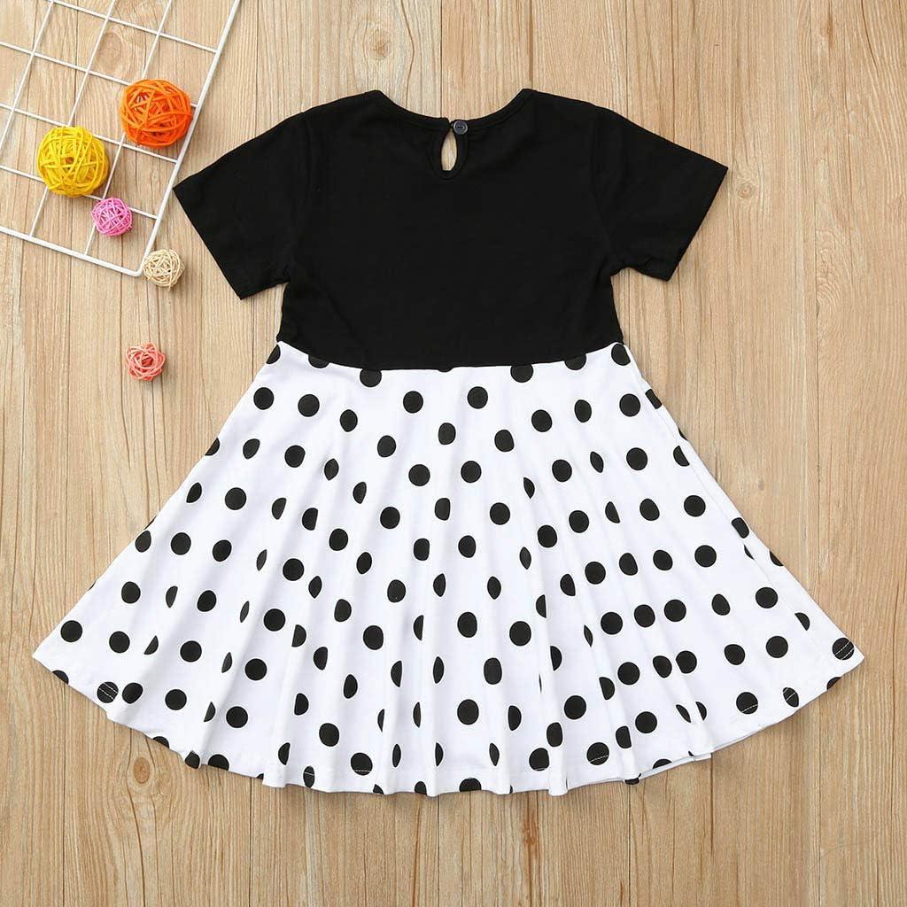 Cuekondy 2-12 Years Old Kids Girls Vintage Polka Dot Printed Princess Party Dress Summer Short Sleeve Swing Dresses