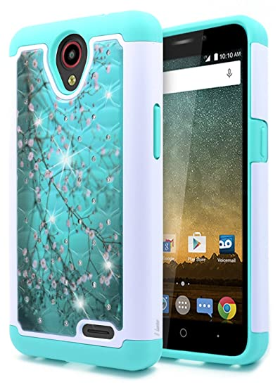 size 40 7ad81 46a48 NageBee [Hybrid Protective] Soft Silicone Cover with [Studded Rhinestone  Bling] Diamond Glitter Case for ZTE ZFive 2, ZTE Prestige, ZTE Maven 2 / ...