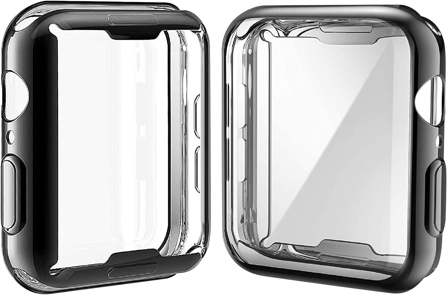 [2-Pack] Julk Case for Apple Watch Series 6 / SE/Series 5 / Series 4 Screen Protector 44mm, New iWatch Overall Protective Case TPU HD Ultra-Thin Cover (1 Black+1 Transparent)