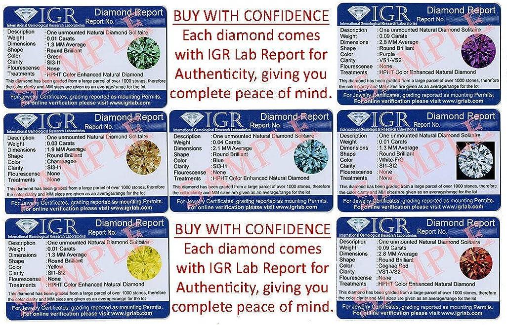 認定3.0mm/0.11カラット。 IndiGems 天然ルースダイヤモンド、ファンシーパープルカラーラウンドブリリアントカットSI1-SI2クラリティ100%本物のダイヤモンド