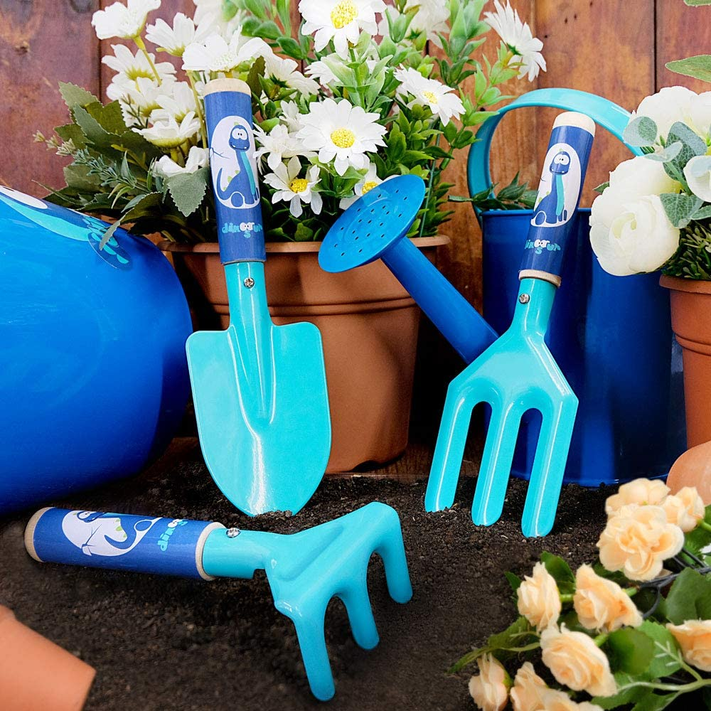 Gardening Tools for Kids for Sand or Gardening 3PCS Kids Gardening Set with Durable Metal Head and Sturdy Wooden Handle Colwelt Kids Garden Tools