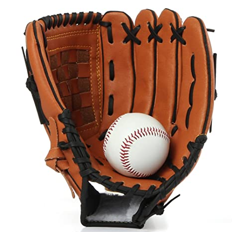 6990715d53ad2 Amazon.com : Brown Leather Baseball Gloves Thick Hit Ball Pitcher ...