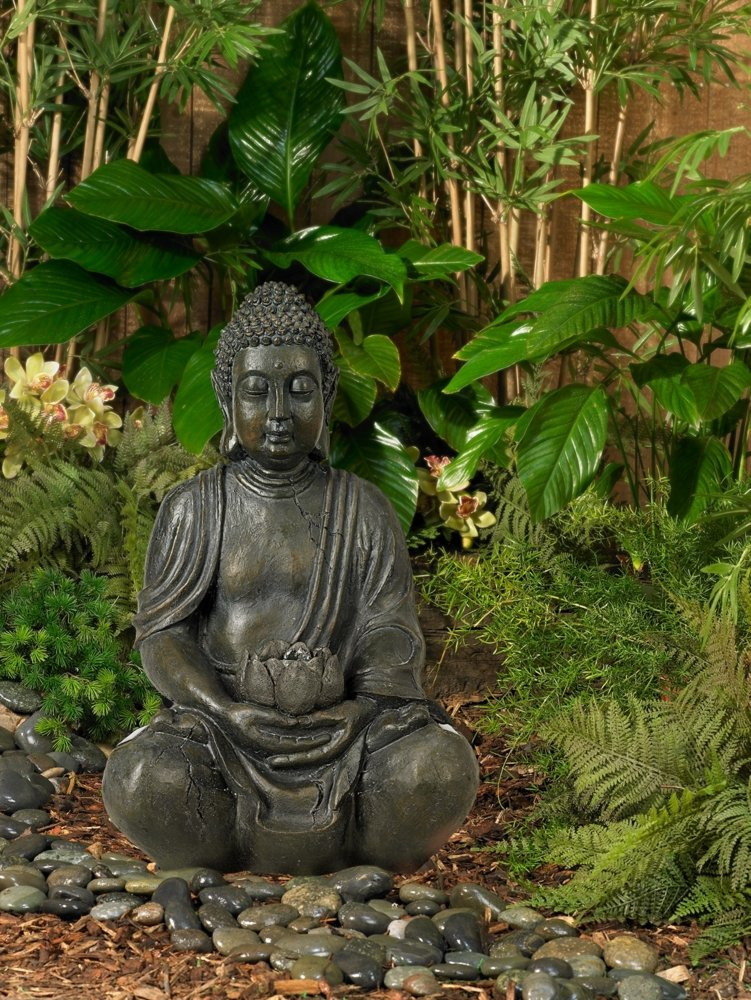 Nice Amazon.com: Sitting Buddha 19 1/2u0026quot; High Sculpture With Solar Powered  LED: Home Improvement