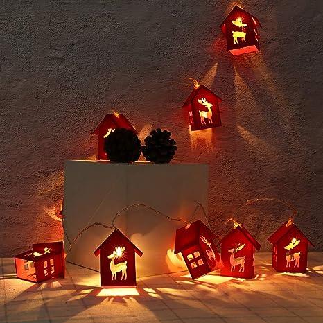 Keepwin Guirlande Lumineuse Maison Decoration De Noel Cerfs Communs