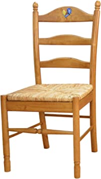 Amazon Com Carolina Cottage English Pine Lilly Rooster Ladder Back Chair Chairs